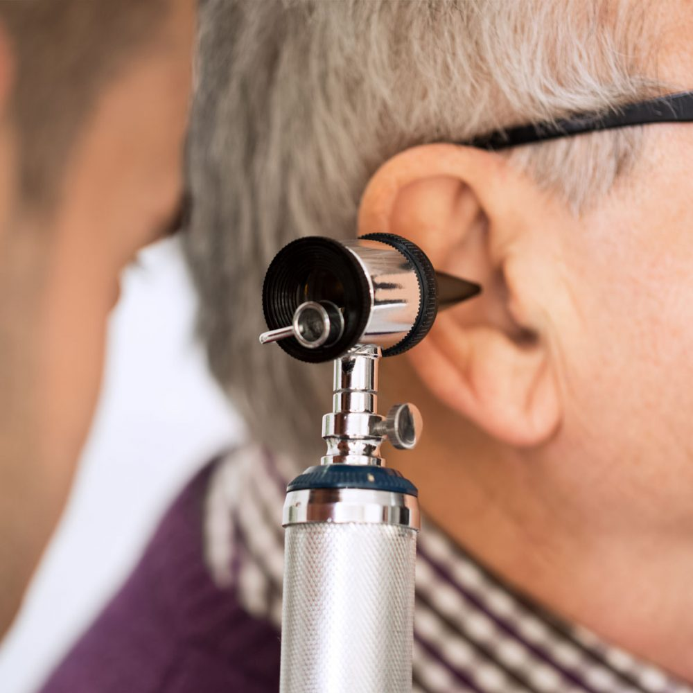 hearing loss examination of ear and seeing doctor